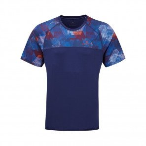 RONHILL T-SHIRT MANCHE COURTE REVIVE STRIDE Homme | MIDNIGHT BLUE/FLAME